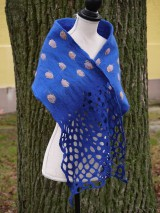 Šály - Modrý dámsky vlnený šál - 11504906_