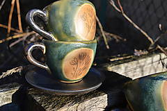 Nádoby - šálka zelená medienková s kvetinkami - 11502815_