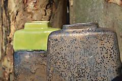 Dekorácie - Váza vysoká bronzová a bronzovo zelená -SET - 11502955_