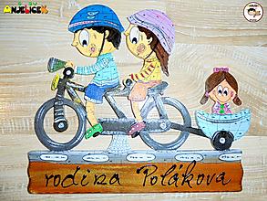 Tabuľky - Menovka - rodinka na bicykli - 11504288_