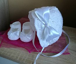 Detské čiapky - Čepček papučky na krst - 11505144_