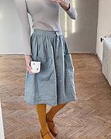 Sukne - Dámska ľanová sukňa na gombíky - 11502325_