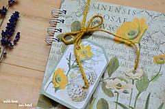 Papiernictvo - Receptárik - herbárium (žltý, ranunclus) - 11505380_