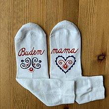 """Obuv - Maľované ponožky s nápisom: """"Budem MAMA"""" (Folk) - 11505265_"""