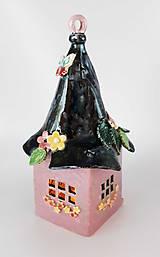 Svietidlá a sviečky - Keramický svietnik - domček - 11505470_