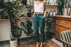Nohavice - ELEANOR Zelené krásne a minimalistické moderné ľanové nohavice.  (M) - 11505389_