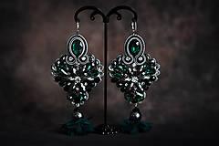 Náušnice - Elegantné šujtášové náušnice so strapcami - 11502950_