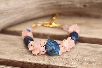 Náramky - Bohemian náramok z minerálov lapis lazuli a ruženín - 11503136_