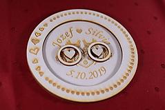 Prstene - Drevený podnos vankúšik na obrúčky gravirovaný 11 - 11502543_