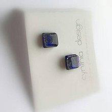 Náušnice - napichovačky z dichroického skla - modro fialové - 11503103_