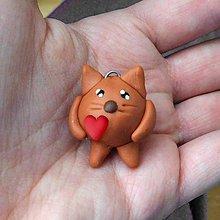 Kľúčenky - FIMO guľkáč so srdiečkom - mačička - 11503582_