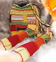 Veľké tašky - lel, kabela nákupná patchwork a rukavice - 11505917_