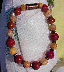 Náramky - Prírodný achát a červený jaspis - 11506583_