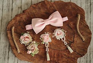 Opasky - Romantický ružový kvetinový set ( klipy na topánky, náušnice, motýlik) - 11508162_