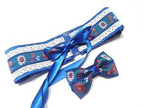 Opasky - Folk opasok modro biely , obojstranný - modrotlač - 11507338_
