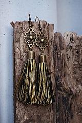 Náušnice - Náušnice strapcové čierno - zlaté - 11507813_