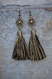 Náušnice - Náušnice strapcové čierno - zlaté - 11507803_