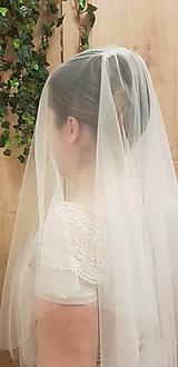 Ozdoby do vlasov - Svadobný závoj dvojvrstvový ivory - tyl exclusive - 11508306_