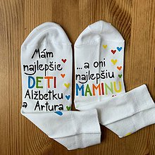 Obuv - Maľované ponožky pre najlepšiu MAMU, ktorá má najlepšie deti (35-37) - 11508649_