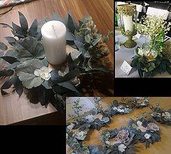Dekorácie - Svadobné podpníky - zdobené greenery - 11506431_