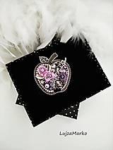 Odznaky/Brošne - Luxusné jabĺčko brošňa (Šedá + jemná fialová) - 11507660_