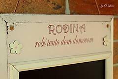 Tabuľky - Kriedová tabuľa s vešiakmi - RODINA v ružovom - 11509271_