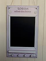 Tabuľky - Kriedová tabuľa s vešiakmi - RODINA v ružovom - 11509276_