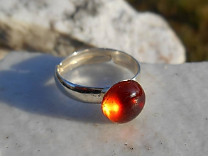 Prstene - red garnet ring in silver-granát-prsteň - 11512432_