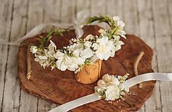 Ozdoby do vlasov - Romantický svadobný set vhodý aj na 1. sv.prijímanie - kvetinový venček a náramok - 11508919_