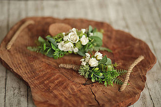 Ozdoby do vlasov - Set svadobný polvenček a pierko pre ženícha - 11510326_