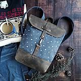 Batohy - Textilno-kožený batoh Hugo (biele bodky) - 11510610_