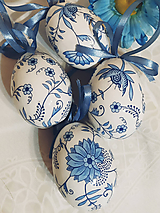 Dekorácie - Sada veľkonočných kraslíc - nežne modrobiele - 11510503_