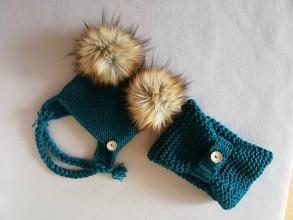 Detské čiapky - Smaragdovozelena súprava - 11512181_