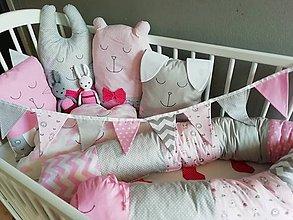 Textil - GIRLANDA - ružová, sivá, biela - 11511247_