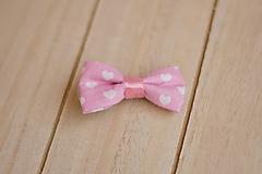 Ozdoby do vlasov - sponka mašlička - ružová srdiečková - 11510479_