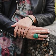 Prstene - BUTTON {ball} výrazný zelený prsteň - 11510870_