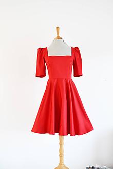 Šaty - Bavlnené šaty s hranatým výstrihom a kruhovou sukňou - 11509140_