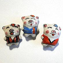 Korálky - Porcelánové prasiatka 14x18mm-1ks - 11513895_