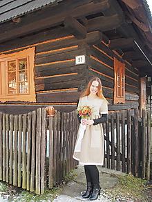 Šaty - Ľanové vidiecke šaty s krajkou - 11515181_