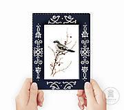 Rámiky - Maľovaný rámček - Blue Folk - 11515430_