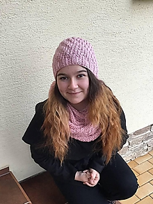 Šály - STARORUŽOVÁ  čiapka, tunel, nákrčník - 11513820_