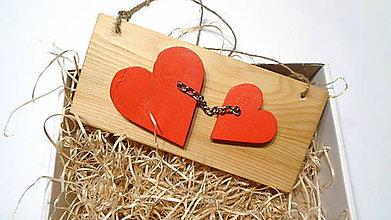 Dekorácie - Valentínske srdiečka červené - závesná dekorácia - 11514295_