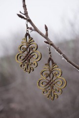 Náušnice - Ornament v hnedo - zlatej - 11514839_