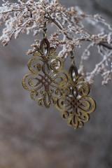 Náušnice - Ornament v hnedo - zlatej - 11514841_
