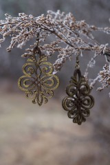 Náušnice - Ornament v hnedo - zlatej - 11514846_