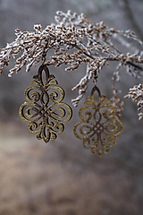 Náušnice - Ornament v hnedo - zlatej - 11514849_