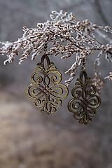 Náušnice - Ornament v hnedo - zlatej - 11514850_