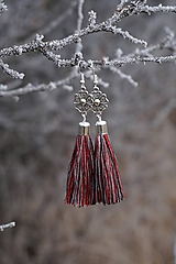 Náušnice - Náušnice strapcové - melír červený - 11514984_