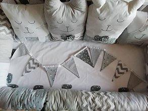 Textil - GIRLANDA - sivá, biela - 11513024_