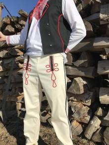 Oblečenie - Pánske krojové nohavice v smotanovej 2 - 11515299_